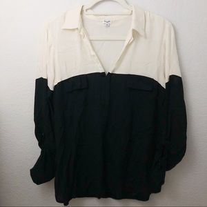Splendid black and white colorblock popover blouse